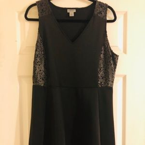 DKNY Black flare dress with faux leather detail